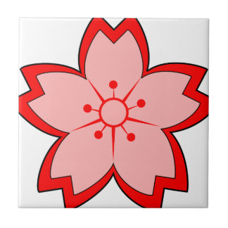 Japanese Cherry Blossom Small Square Tile