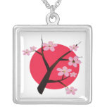 Japanese Cherry Blossom Tattoo Necklaces