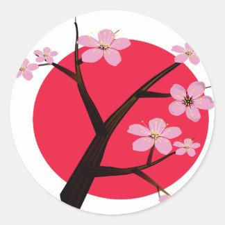 Japanese Cherry Blossom Tattoo Round Sticker