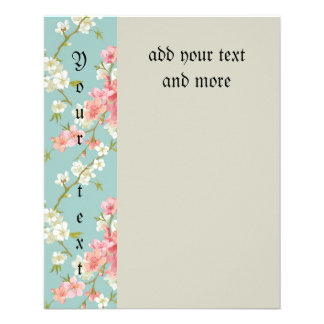 "Japanese,cherry blossom,teal,white,pink,floral,fun 4.5"" x 5.6"" flyer"