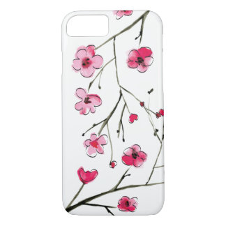 Japanese Cherry Blossom, Watercolor, Outlines iPhone 8/7 Case
