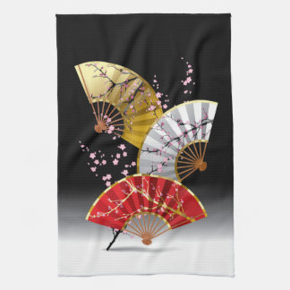 Japanese Cherry Fans Kitchen Towel
