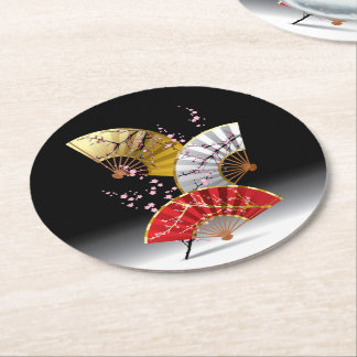 Japanese Cherry Fans Round Paper Coaster