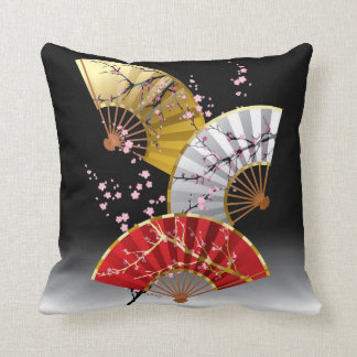 Japanese Cherry Fans Throw Pillow