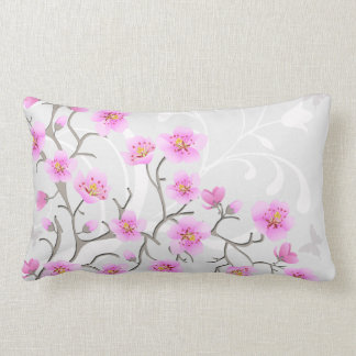 Japanese Cherry Flowers Lumbar Pillow