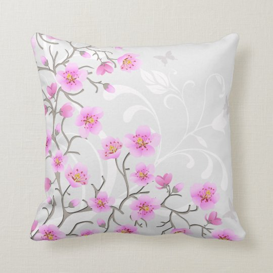Japanese Cherry Flowers Throw Pillow