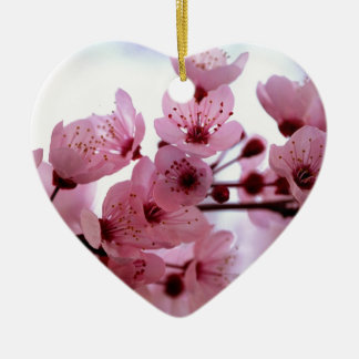Japanese Cherry Tree Blossoms Ceramic Heart Decoration
