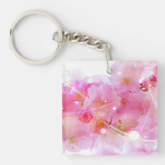 Japanese Cherry Tree with Pastel Pink Blossoms Acrylic Keychain