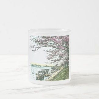 Japanese Cherry Trees in Blossom, Vintage Frosted Glass Coffee Mug