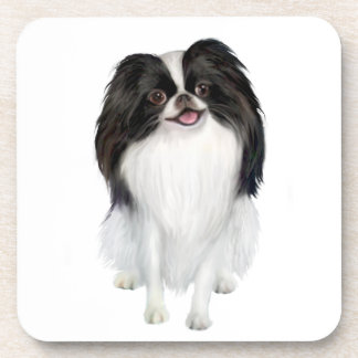 Japanese Chin A - Black and white Beverage Coasters