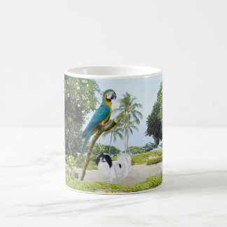 Japanese Chin and Macaw Basic White Mug