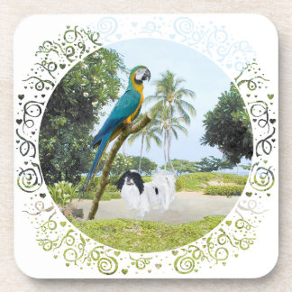 Japanese Chin and Macaw Beverage Coaster