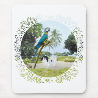 Japanese Chin and Macaw Mouse Pad