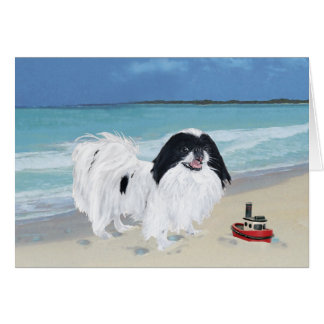 Japanese Chin at the Beach Card