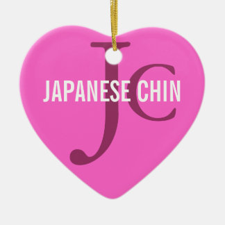Japanese Chin Breed Monogram Double-Sided Heart Ceramic Christmas Ornament