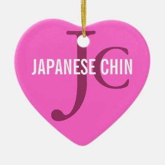 Japanese Chin Breed Monogram Ceramic Heart Decoration