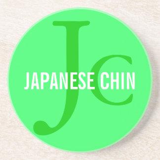 Japanese Chin Breed Monogram Sandstone Coaster