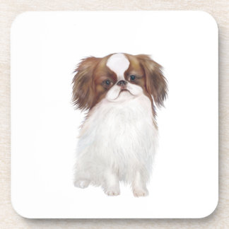 Japanese Chin brown-white Drink Coaster