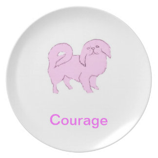 Japanese Chin Courage Cancer Awareness Plate