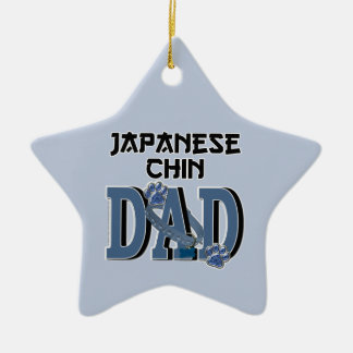 Japanese Chin DAD Double-Sided Star Ceramic Christmas Ornament