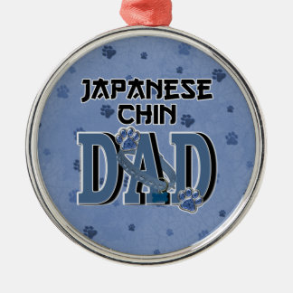 Japanese Chin DAD Round Metal Christmas Ornament