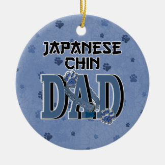 Japanese Chin DAD Double-Sided Ceramic Round Christmas Ornament