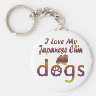 Japanese Chin designs Basic Round Button Key Ring