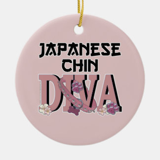 Japanese Chin DIVA Double-Sided Ceramic Round Christmas Ornament