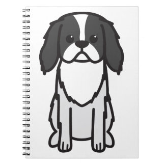 Japanese Chin Dog Cartoon Spiral Notebooks