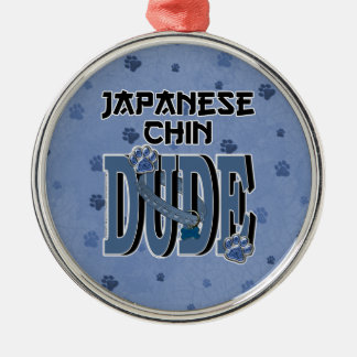 Japanese Chin DUDE Silver-Colored Round Decoration