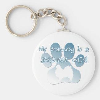 Japanese Chin Granddog Basic Round Button Key Ring