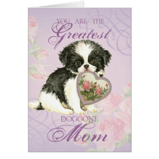 Japanese Chin Heart Mom Card