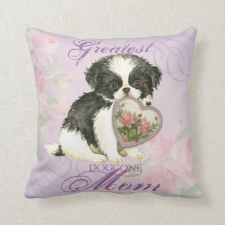 Japanese Chin Heart Mom Throw Pillow