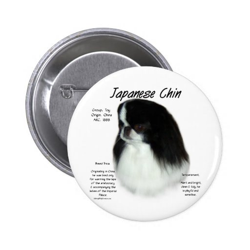 Japanese Chin History Design Pinback Buttons
