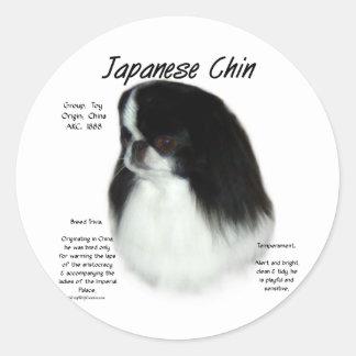 Japanese Chin History Design Round Sticker