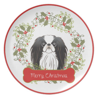 Japanese Chin Merry Christmas Plate
