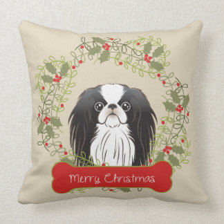 Japanese Chin Merry Christmas Throw Pillow Cushions