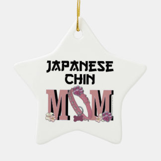 Japanese Chin MOM Double-Sided Star Ceramic Christmas Ornament