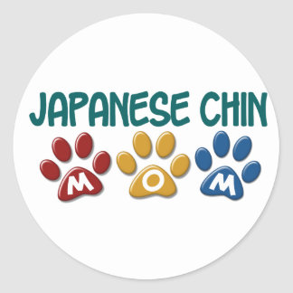 JAPANESE CHIN Mom Paw Print 1 Classic Round Sticker
