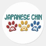 JAPANESE CHIN Mum Paw Print 1 Round Sticker
