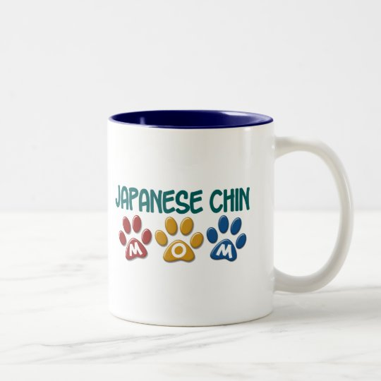 JAPANESE CHIN Mum Paw Print 1 Two-Tone Coffee Mug