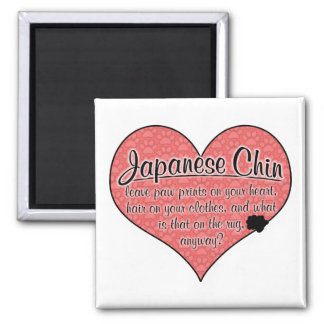 Japanese Chin Paw Prints Dog Humor Square Magnet