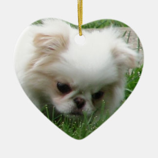 Japanese Chin Puppy 2.png Ceramic Heart Decoration