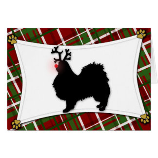 Japanese Chin Reindeer Christmas Card