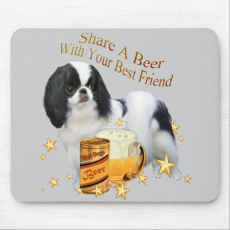 Japanese Chin Share A Beer Mouse Pad