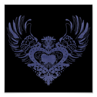 Japanese Chin Winged Heart Poster