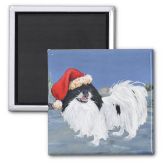 Japanese Chin Winter Night Square Magnet