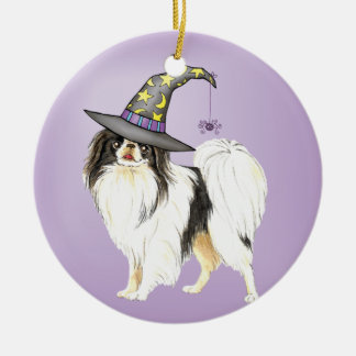 Japanese Chin Witch Double-Sided Ceramic Round Christmas Ornament