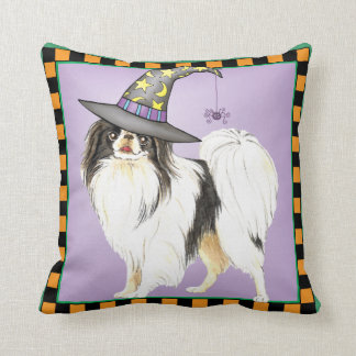 Japanese Chin Witch Throw Pillow
