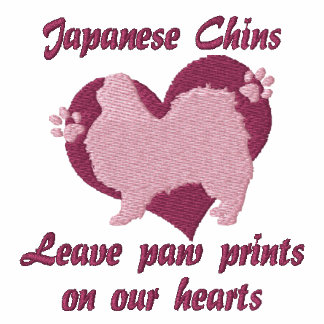 Japanese Chins Leave Paw Prints Embroidered TShirt